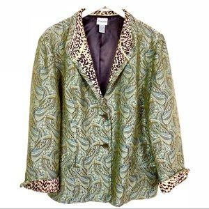 CHICO'S Tapestry & Cheetah Print Blazer 3